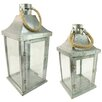 Northlight Seasonal 2 Piece Metal and Glass Lantern Set