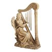Northlight Seasonal Seated Angel Playing Harp Garden Wind Chime Statue