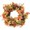 """Northlight Seasonal Autumn Harvest 20"""" Decorative Artificial Fall Leaves, Pinecones, Pumpkins and Berries Wreath"""