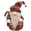 Northlight Seasonal Plaid Sitting Santa Gnome with Candy Cane Plush Table Top Christmas Figure