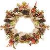 "Northlight Seasonal Autumn Harvest 18"" Artificial Berry, Leaves, Acorns, Pinecones and Burlap Wreath"