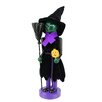 Northlight Seasonal Green Witch Decorative Wooden Halloween Nutcracker Holding Broom and Jack-O-Lantern