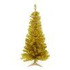 Northlight Seasonal 4' Gold Artificial Christmas Tree 100 Clear Lights with Stand and Tinsel Branches