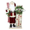 Northlight Seasonal Battery Operated Lighted Santa with Welcome Sled and Skis Decorative Christmas Figure
