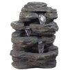 Resin LED Lighted Multi-Tiered Rock Look Patio Garden Water Fountain with Light - Northlight Indoor and Outdoor Fountains