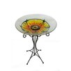Hand Painted Glass Sunflower Spring Outdoor Garden Birdbath - Northlight Bird Baths
