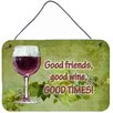 Caroline's Treasures Good Friends Good Wine Good Times by Denny Knight Painting Print Plaque