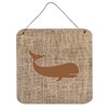 Caroline's Treasures Whale Graphic Art Plaque in Burlap and Brown