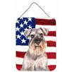 Caroline's Treasures Usa American Flag with Schnauzer by Denny Knight Graphic Art Plaque