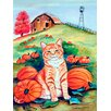 Caroline's Treasures Tabby Cat in the Pumpkins House Vertical Flag