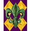 Caroline's Treasures Mardi Gras Harlequin Fleur-de-lis House Vertical Flag
