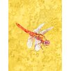 Caroline's Treasures Dragonfly on Yellow House Vertical Flag