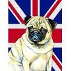 Caroline's Treasures Pug with English Union Jack British Flag 2-Sided Garden Flag