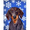 Caroline's Treasures Dachshund Winter Snowflakes Holiday House Vertical Flag