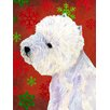 Caroline's Treasures Westie Red and Green Snowflakes Holiday Christmas House Vertical Flag