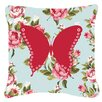 Caroline's Treasures Butterfly Shabby Elegance Blue Roses Indoor/Outdoor Throw Pillow