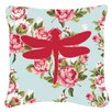 Caroline's Treasures Dragonfly Shabby Elegance Blue Roses Indoor/Outdoor Throw Pillow