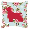 Caroline's Treasures Cocker Spaniel Shabby Elegance Blue Roses Indoor/Outdoor Throw Pillow
