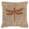Caroline's Treasures Dragonfly Burlap Indoor/Outdoor Throw Pillow
