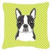 Caroline's Treasures Checkered Boston Terrier Indoor/Outdoor Throw Pillow