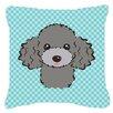 Caroline's Treasures Checkerboard Silver Gray Poodle Indoor/Outdoor Throw Pillow
