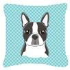 Caroline's Treasures Checkerboard Boston Terrier Indoor/Outdoor Throw Pillow