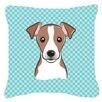 Caroline's Treasures Checkerboard Jack Russell Terrier Indoor/Outdoor Throw Pillow