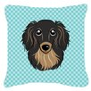 Caroline's Treasures Checkerboard Longhair Black and Tan Dachshund Indoor/Outdoor Throw Pillow