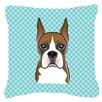 Caroline's Treasures Checkerboard Boxer Indoor/Outdoor Throw Pillow