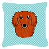 Caroline's Treasures Checkerboard Longhair Red Dachshund Indoor/Outdoor Throw Pillow