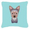 Caroline's Treasures Checkerboard Yorkie Puppy Indoor/Outdoor Throw Pillow
