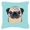 Caroline's Treasures Checkerboard Fawn Pug Indoor/Outdoor Throw Pillow