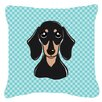 Caroline's Treasures Checkerboard Smooth Black and Tan Dachshund Indoor/Outdoor Throw Pillow