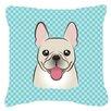 Caroline's Treasures Checkerboard French Bulldog Indoor/Outdoor Throw Pillow