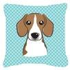 Caroline's Treasures Checkerboard Beagle Indoor/Outdoor Throw Pillow