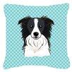 Caroline's Treasures Checkerboard Border Collie Indoor/Outdoor Throw Pillow