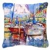 Caroline's Treasures Tree Boats Sailboats Indoor/Outdoor Throw Pillow