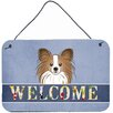Caroline's Treasures Papillon Welcome by Denny Knight Graphic Art Plaque