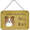 Caroline's Treasures Papillon Spoiled Dog Lives Here by Denny Knight Graphic Art Plaque