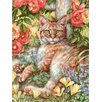 Caroline's Treasures Tabby In The Roses by Debbie Cook 2-Sided Garden Flag