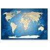 LanaKK Wandbild Worldmap Blue Ocean, Fotodruck