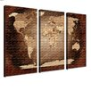 LanaKK World Map 3 Piece Graphic Art on Canvas