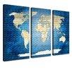 LanaKK 3-tlg. Leinwandbild-Set Worldmap Grafikdruck