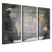 LanaKK 3-tlg. Leinwandbild-Set World Map, Grafikdruck
