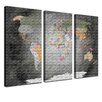 LanaKK World Map 3 Piece Graphic Art on Canvas Set