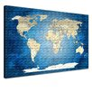 """LanaKK Leinwandbild """"World Map Blue Ocean - Französisch"""", Grafikdruck in Blau"""