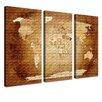 """LanaKK 3-tlg. 3-tlg. Leinwandbild-Set """"World Map Brauncolorful - Französisch"""", Grafikdruck in Braun"""