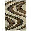 Rugnur Bella Maxy Home Picasso Wave Striped Design Contemporary Ivory/Beige Shag Area Rug