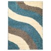 Rugnur Bella Maxy Home Block Striped Waves Contemporary White/Turquoise Blue Shag Area Rug