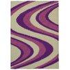 Rugnur Bella Maxy Home Picasso Wave Striped Design Contemporary Ivory/Lilac Shag Area Rug